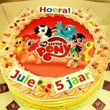 Regenboog-taart rond met foto of logo_
