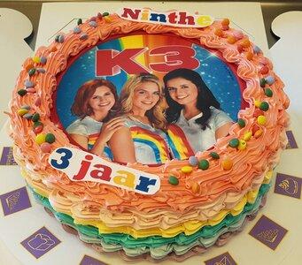 Regenboog-taart rond met foto of logo